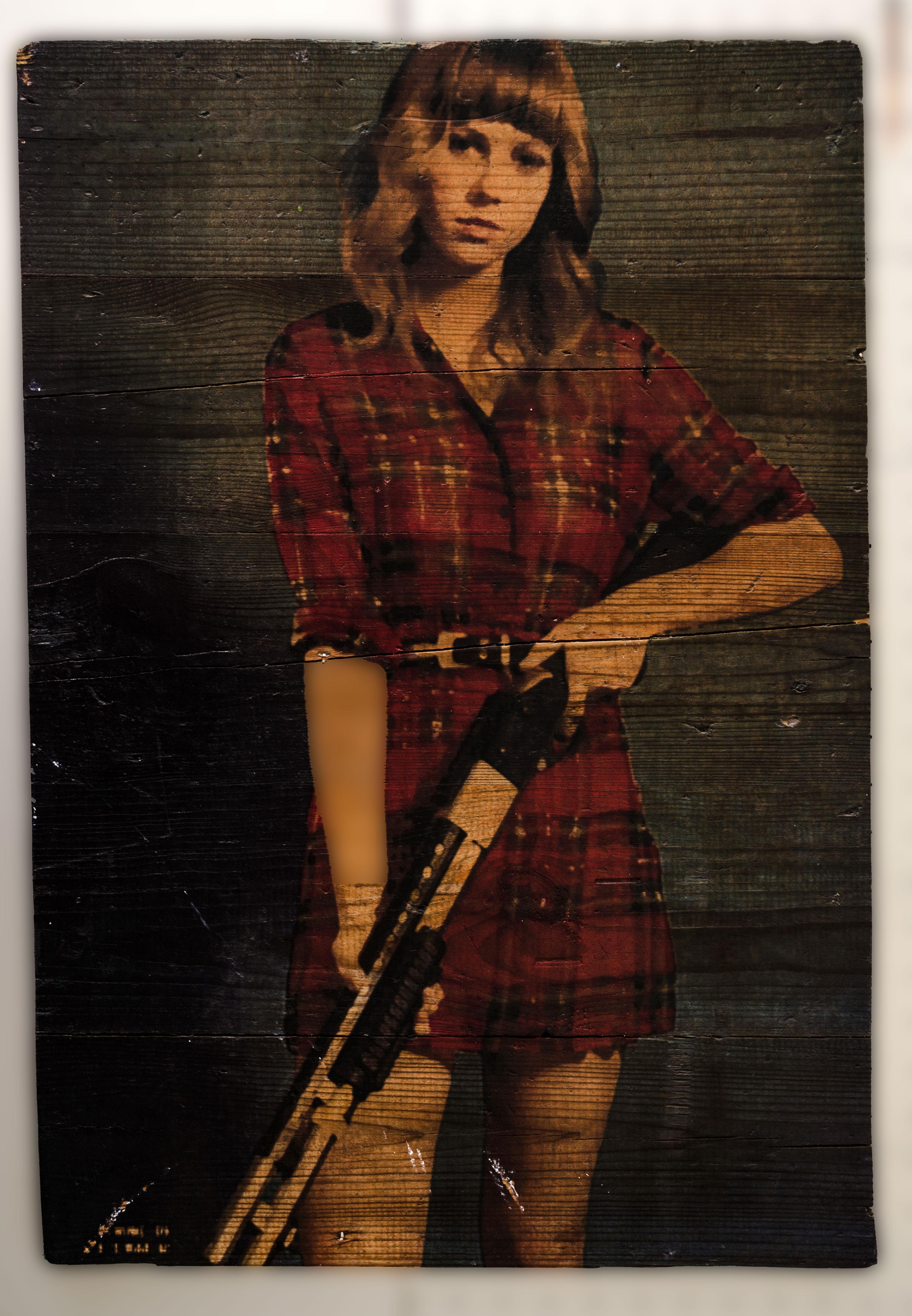 Holzdruck mit altem Bild
