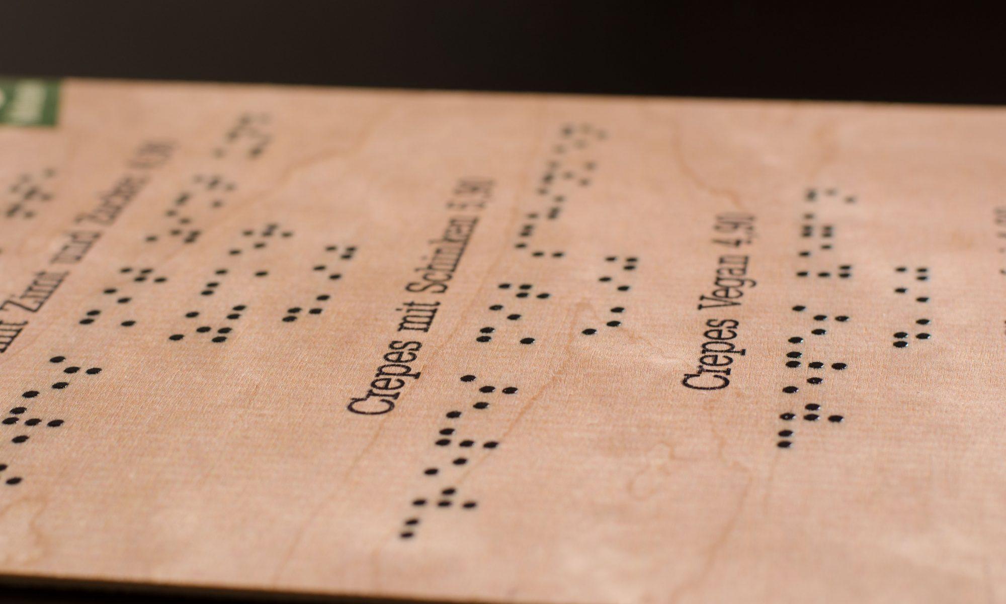 Blindenschrift gedruckt
