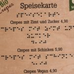 Speisekarte Blindenschrift