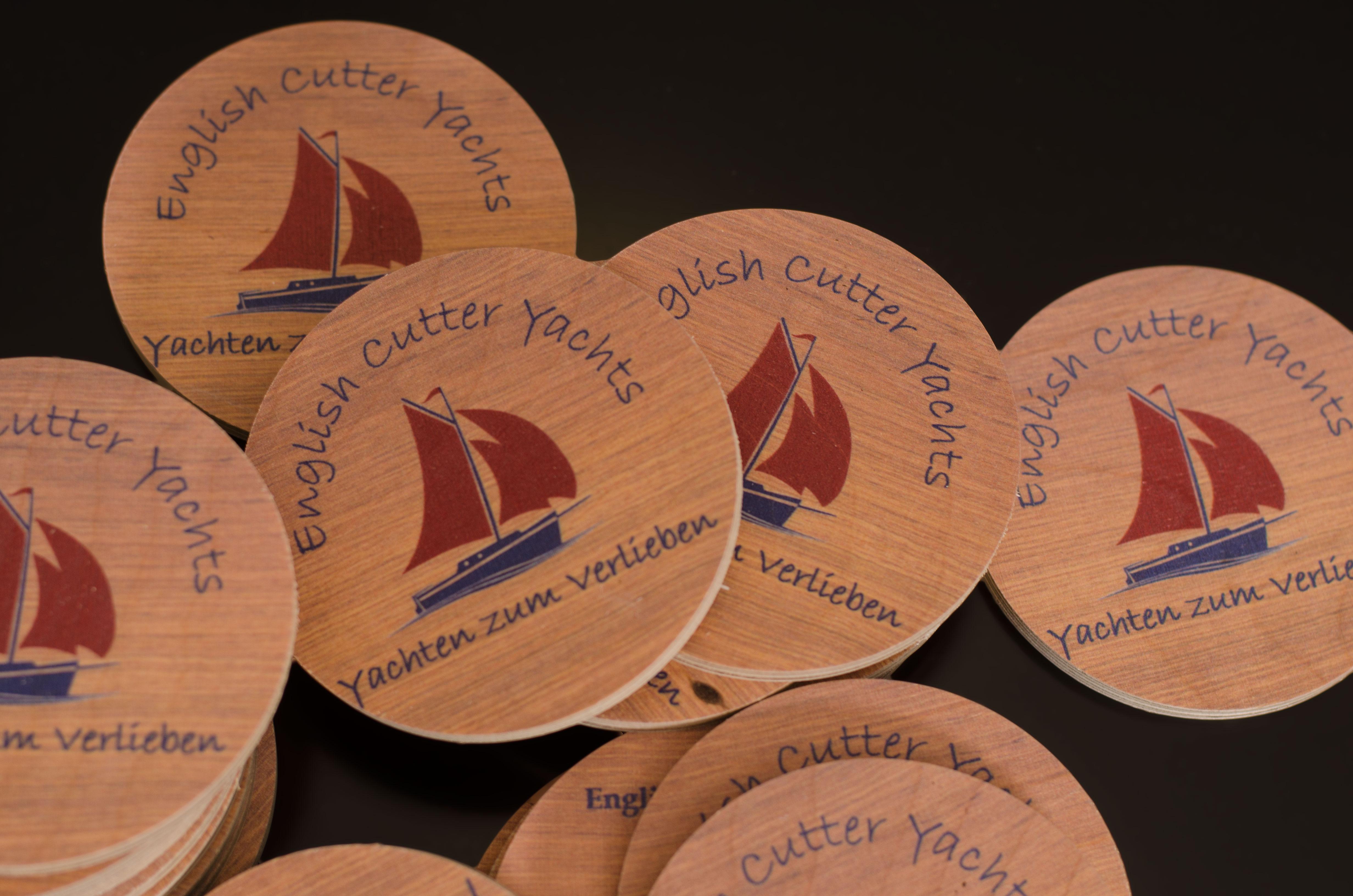 Visitenkarten Aus Holz In Runder Form Druck Auf Holz