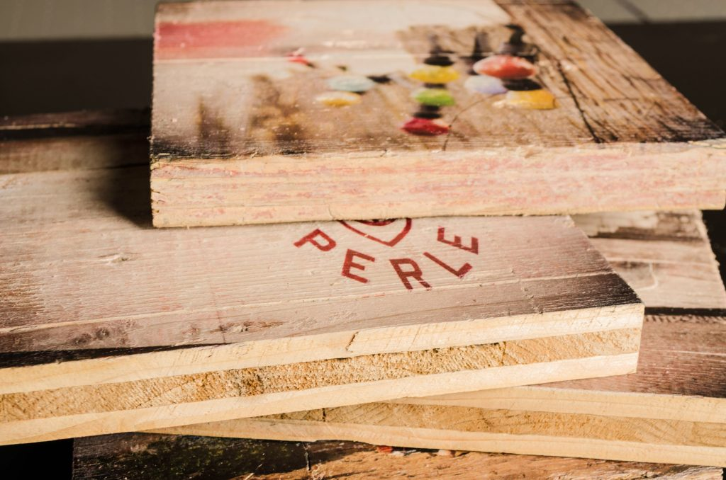 bedrucktes Holz