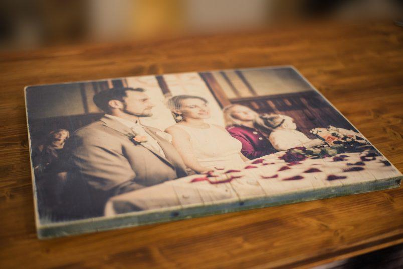 Holzdruck mit Hochzeitsbild
