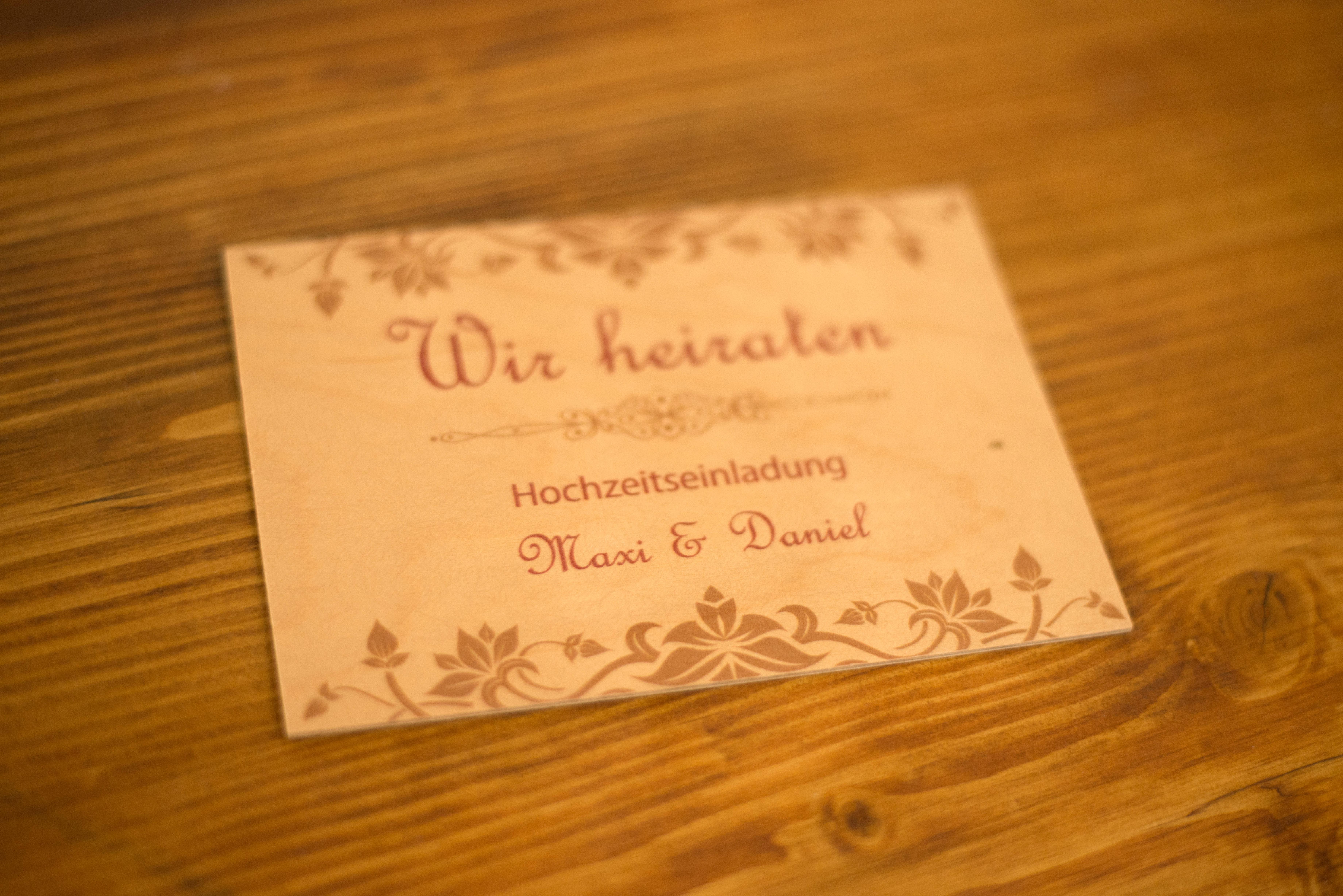 Hochzeitskarte Aus Holz Druck Auf Holz