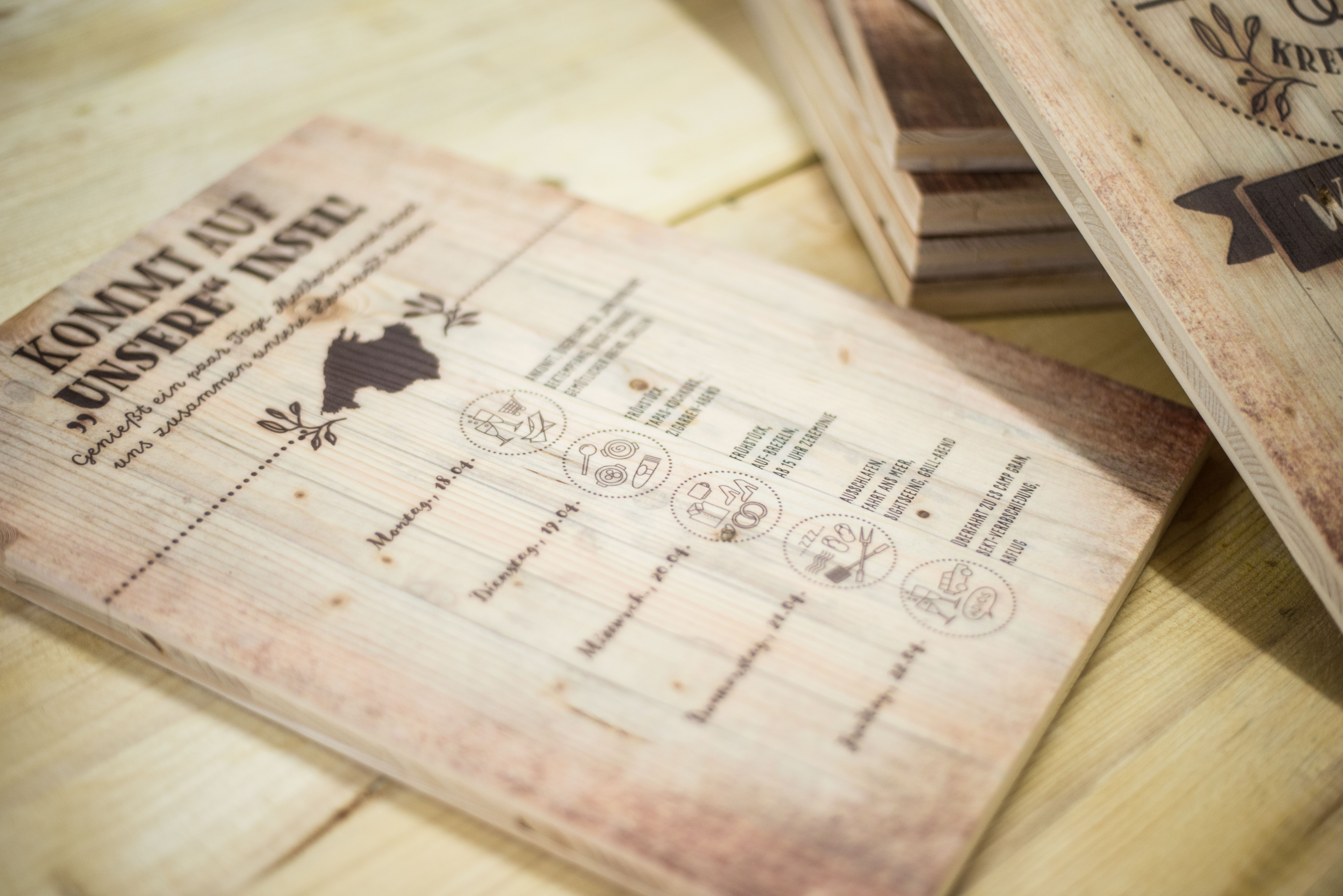 Besondere Hochzeitseinladung Druck Auf Holz