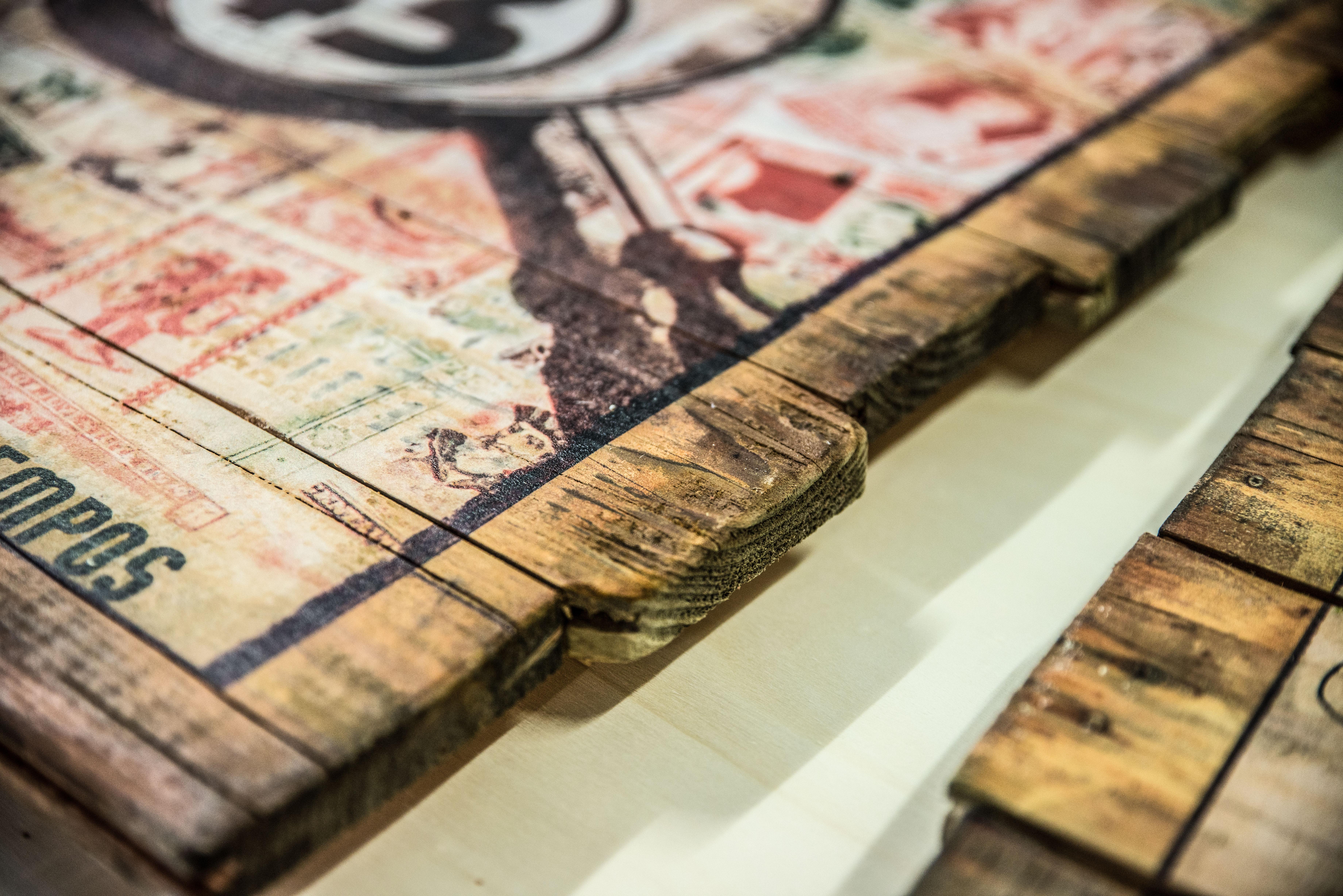 Alte Holzlatten, bedruckt