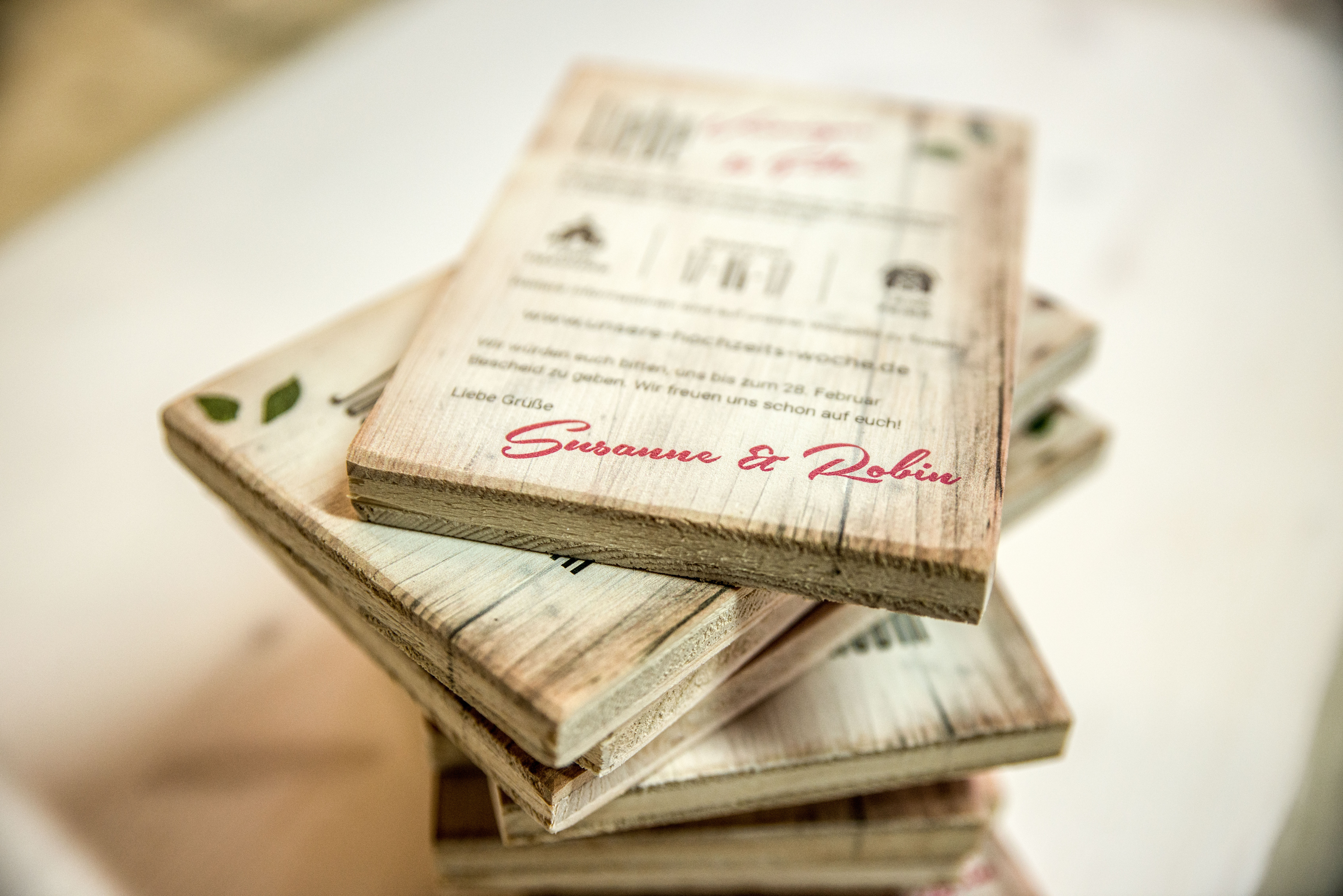 Hochzeitseinladungen Aus Holz Druck Auf Holz