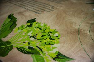 Direkter Druck auf Birkenholz