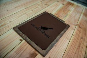 Holzklemmbrett mit Lederbezug
