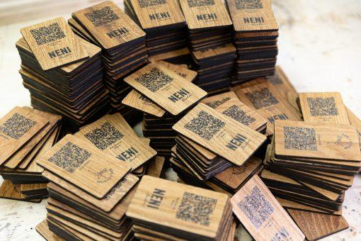 QR-Code - Karten aus Eiche